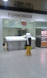 At 7 a.m. I was at the grocery store, where even the Fishmonger was still getting started.