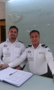 "Security guards in our lobby. They keep us safe and happy. I said ""good morning"" to them even though it was 4:30 pm."